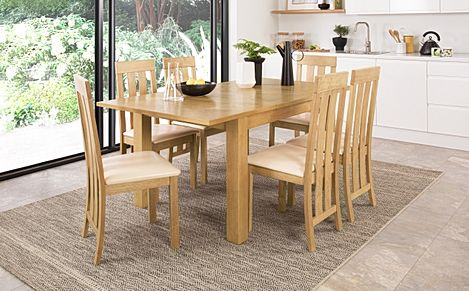 Madison Oak 120-170cm Extending Dining Table with 4 Chester Chairs (Ivory Leather Seat Pad)
