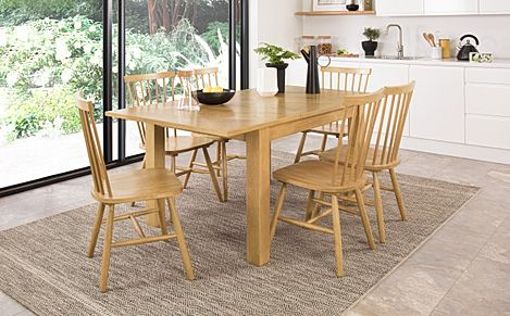 Madison Oak 120-170cm Extending Dining Table with 4 Pendle Chairs