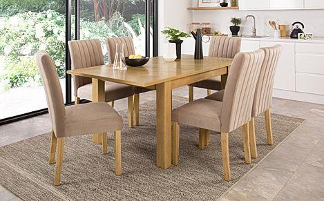 Madison 120-170cm Oak Extending Dining Table with 4 Salisbury Mink Velvet Chairs