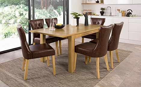 Madison Oak 120-170cm Extending Dining Table with 4 Bewley Club Brown Leather Chairs