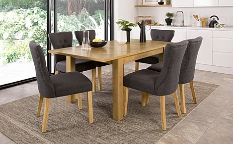 Madison 120-170cm Oak Extending Dining Table with 4 Bewley Slate Fabric Chairs