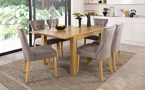 Madison 120-170cm Oak Extending Dining Table with 4 Bewley Grey Velvet Chairs