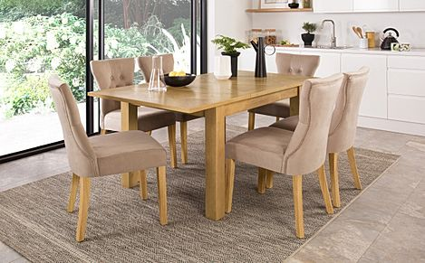 Madison 120-170cm Oak Extending Dining Table with 6 Bewley Mink Velvet Chairs