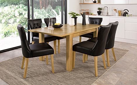 Madison Oak 120-170cm Extending Dining Table with 4 Bewley Black Leather Chairs