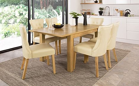 Madison Oak 120-170cm Extending Dining Table with 4 Bewley Ivory Leather Chairs