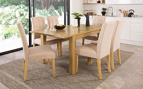 Madison Oak 120-170cm Extending Dining Table with 4 Regent Oatmeal Fabric Chairs