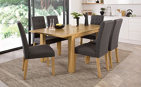 Madison Oak 120-170cm Extending Dining Table with 4 Regent Slate Fabric Chairs