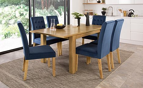 Madison Oak 120-170cm Extending Dining Table with 4 Regent Blue Velvet Chairs