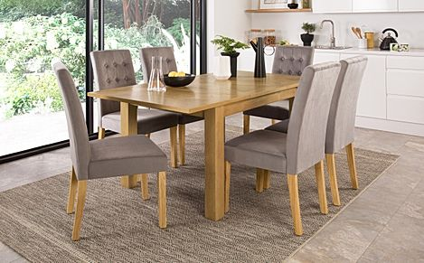 Madison 120-170cm Oak Extending Dining Table with 4 Regent Grey Velvet Chairs