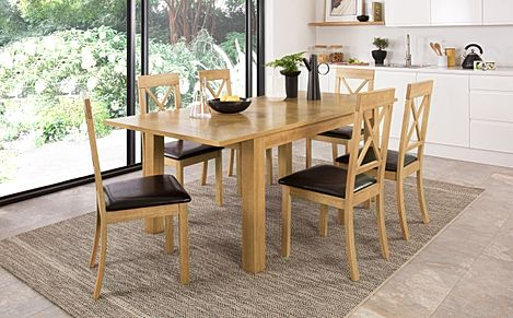 Madison Oak 150-200cm Extending Dining Table with 6 Kendal Chairs (Brown Leather Seat Pad)
