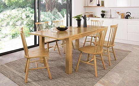Madison Oak 150-200cm Extending Dining Table with 4 Pendle Chairs