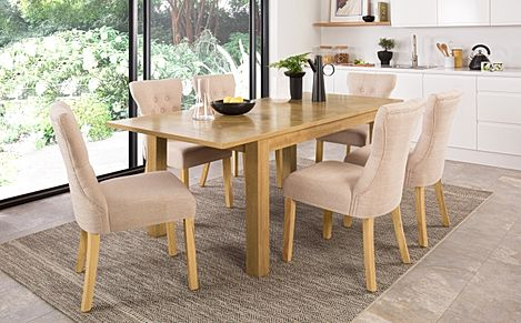 Madison 150-200cm Oak Extending Dining Table with 6 Bewley Oatmeal Fabric Chairs