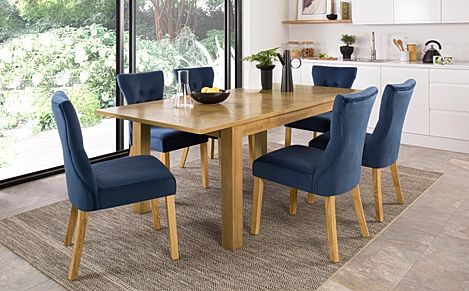 Madison Oak 150-200cm Extending Dining Table with 4 Bewley Blue Velvet Chairs