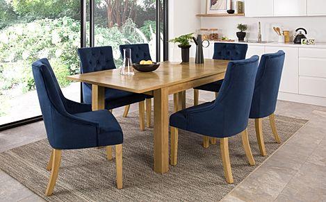 Madison Oak 150-200cm Extending Dining Table with 6 Duke Blue Velvet Chairs