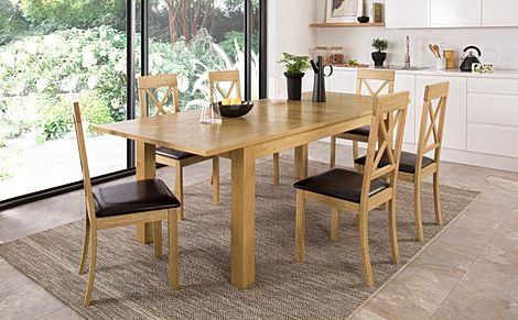 Madison 180-230cm Oak Extending Dining Table with 4 Kendal Chairs (Brown Leather Seat Pad)