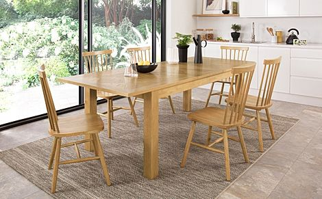 Madison 180-230cm Oak Extending Dining Table with 4 Pendle Chairs