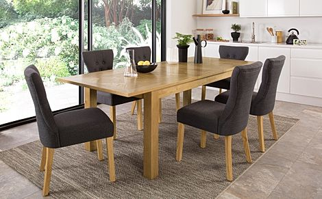 Madison Oak 180-230cm Extending Dining Table with 6 Bewley Slate Fabric Chairs