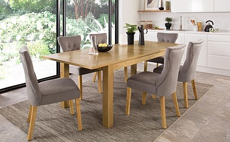 Madison 180-230cm Oak Extending Dining Table with 8 Bewley Grey Velvet Chairs