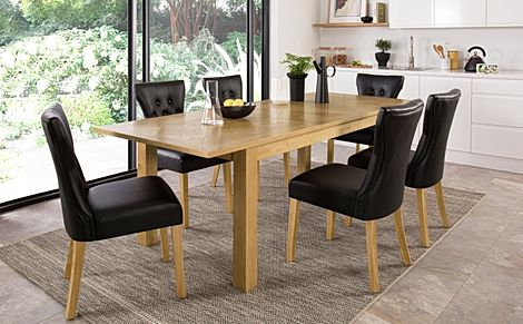 Madison Oak 180-230cm Extending Dining Table with 4 Bewley Black Leather Chairs