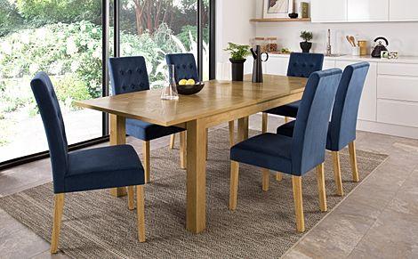 Madison Oak 180-230cm Extending Dining Table with 4 Regent Blue Velvet Chairs