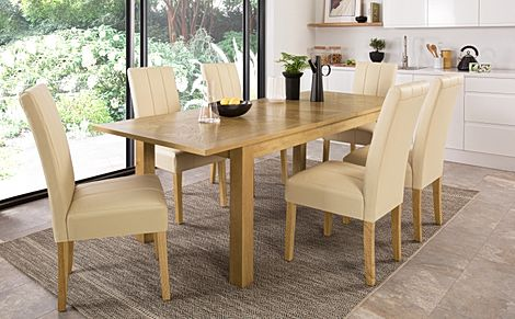 Madison 180-230cm Oak Extending Dining Table with 8 Carrick Ivory Leather Chairs