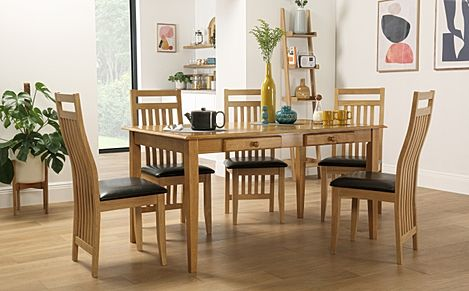 Wiltshire Oak Dining Table with Storage with 4 Bali Chairs (Brown Seat Pad)