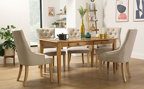 Wiltshire Oak Dining Table with Storage with 4 Duke Oatmeal Chairs