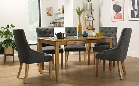 Wiltshire Oak Dining Table with Storage with 4 Duke Slate Fabric Chairs