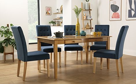 Wiltshire Oak Dining Table with Storage with 4 Regent Blue Velvet Chairs