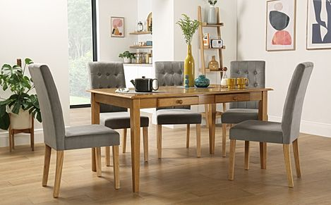 Wiltshire Oak Dining Table with Storage with 4 Regent Grey Velvet Chairs