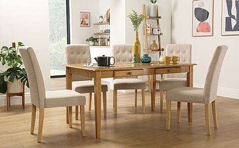 Wiltshire Oak Dining Table with Storage with 4 Regent Oatmeal Chairs