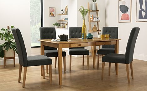 Wiltshire Oak Dining Table with Storage with 4 Regent Slate Chairs