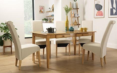 Wiltshire Oak Dining Table with Storage with 4 Richmond Cream Leather Chairs