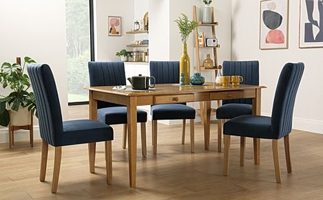 Wiltshire Oak Dining Table with Storage with 4 Salisbury Blue Velvet Chairs