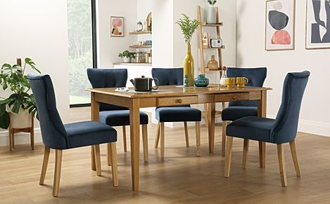 Wiltshire Oak Dining Table with Storage with 6 Bewley Blue Velvet Chairs