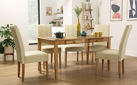 Wiltshire Oak Dining Table with Storage with 6 Carrick Ivory Chairs