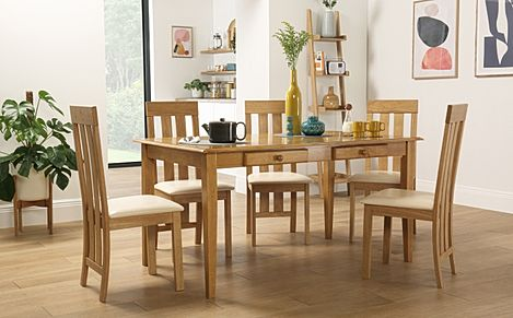 Wiltshire Oak Dining Table with Storage with 6 Chester Chairs (Ivory Leather Seat Pad)