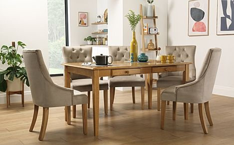 Wiltshire Oak Dining Table with Storage with 6 Duke Mink Velvet Chairs