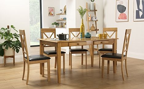 Wiltshire Oak Dining Table with Storage with 6 Kendal Chairs (Brown Seat Pad)