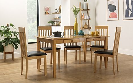 Wiltshire Oak Dining Table with Storage with 6 Oxford Chairs (Brown Seat Pad)