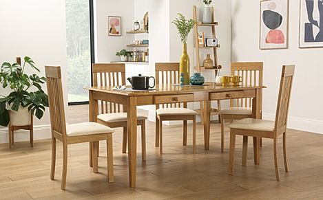 Wiltshire Oak Dining Table with Storage with 6 Oxford Chairs (Ivory Seat Pad)