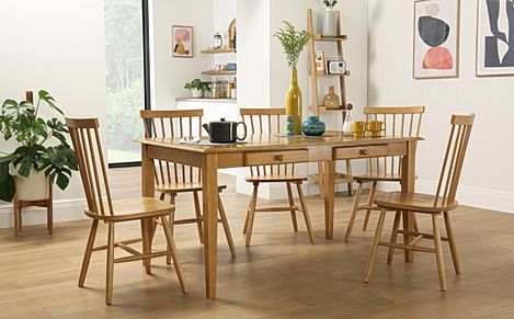 Wiltshire Oak Dining Table with Storage with 6 Pendle Chairs