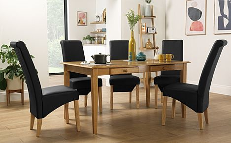 Wiltshire Oak Dining Table with Storage with 6 Richmond Black Leather Chairs