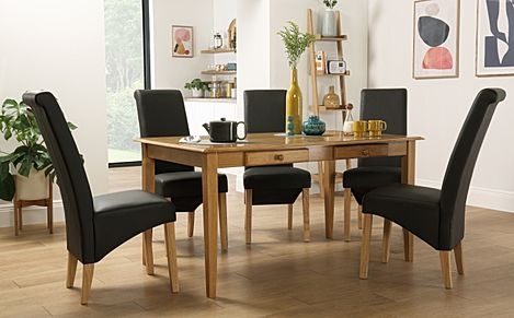 Wiltshire Oak Dining Table with Storage with 6 Richmond Brown Leather Chairs