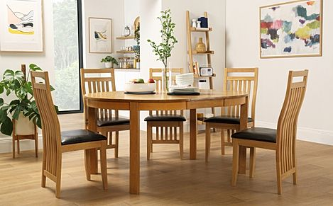 Marlborough Round Oak Extending Dining Table with 4 Bali Chairs (Brown Seat Pad)