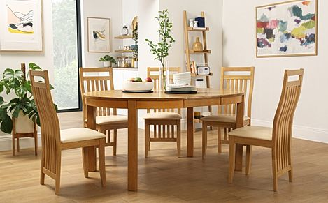 Marlborough Round Oak Extending Dining Table with 4 Bali Chairs (Ivory Seat Pad)