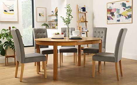 Marlborough Round Oak Extending Dining Table with 4 Regent Grey Velvet Chairs