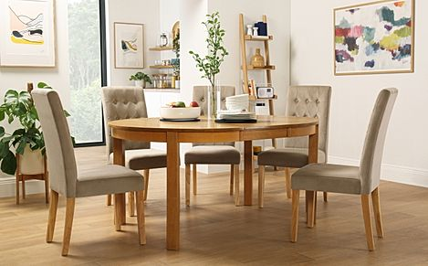 Marlborough Round Oak Extending Dining Table with 4 Regent Mink Velvet Chairs