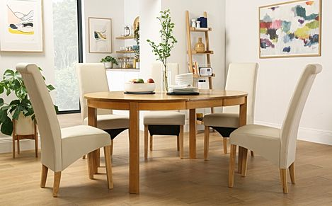 Marlborough Round Oak Extending Dining Table with 4 Richmond Cream Chairs