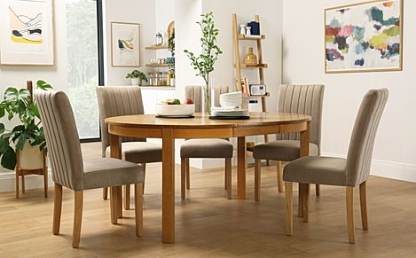 Marlborough Round Oak Extending Dining Table with 4 Salisbury Mink Velvet Chairs